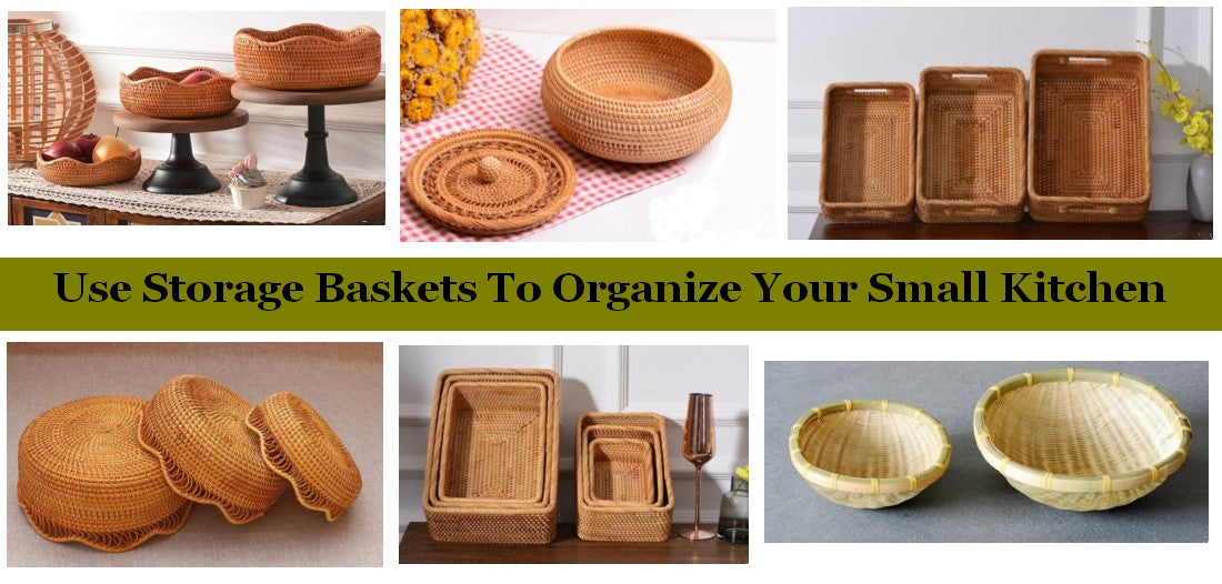 Use Small Storage Baskets to Organize Your Small Kitchen, Wicker Storage Baskets for Kitchen, Pantry Storage Ideas, Woven Storage Baskets for Kitchen