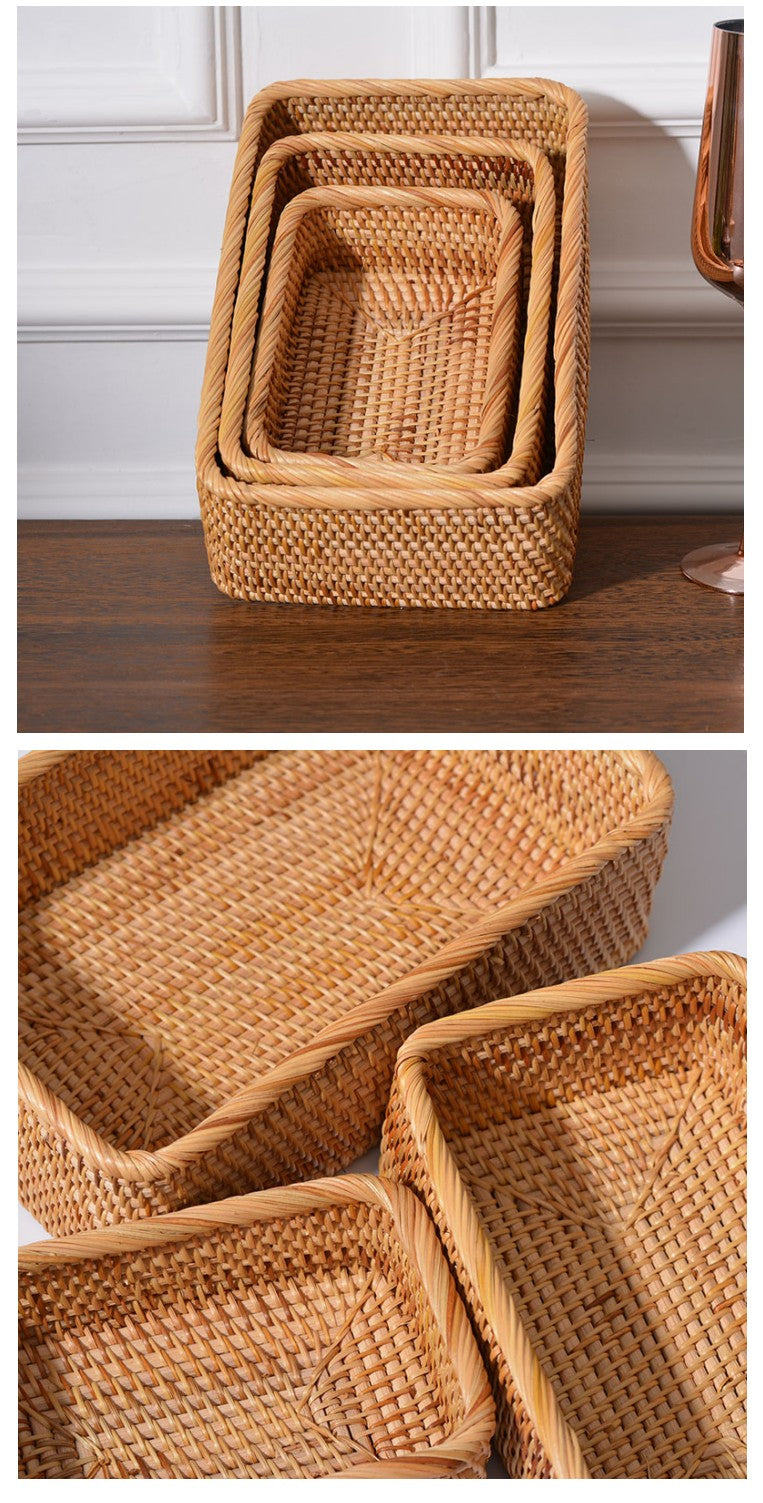 Handmade Rectangular Basket, Rattan Storage Basket, Storage Baskets for Kitchen and Bathroom, Rustic Baskets for Living Room