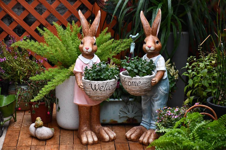 Large Rabbit Lovers Statue for Garden, Bunny Flowerpot, Garden Courtyard Ornament
