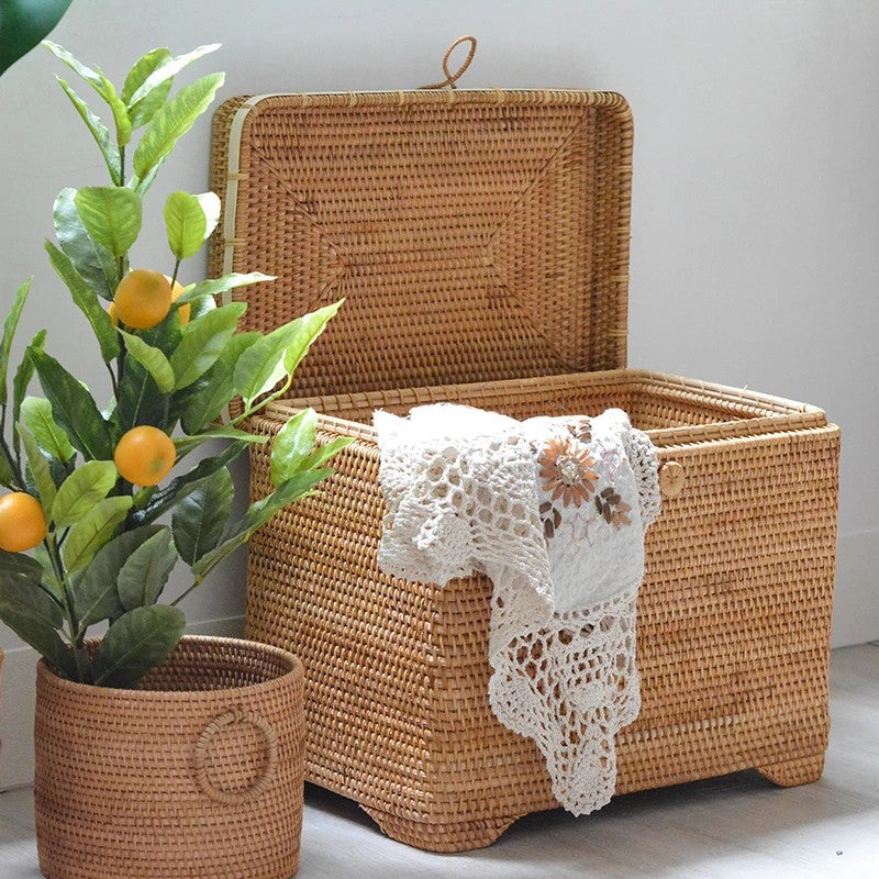 Extra Large Woven Rectangular Basket with Lid, Rattan Storage Baskets, Storage Baskets for Bedroom, Woven Basket with Lid