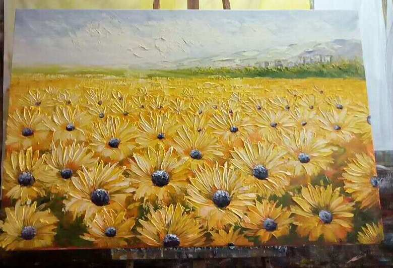 sunflowers, hand painted art from paintingforhome.com