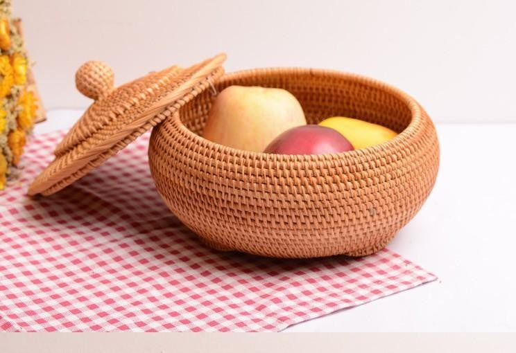 Woven Storage Basket with Lid, Cute Round Storage Basket, Rattan Storage Basket for Kitchen