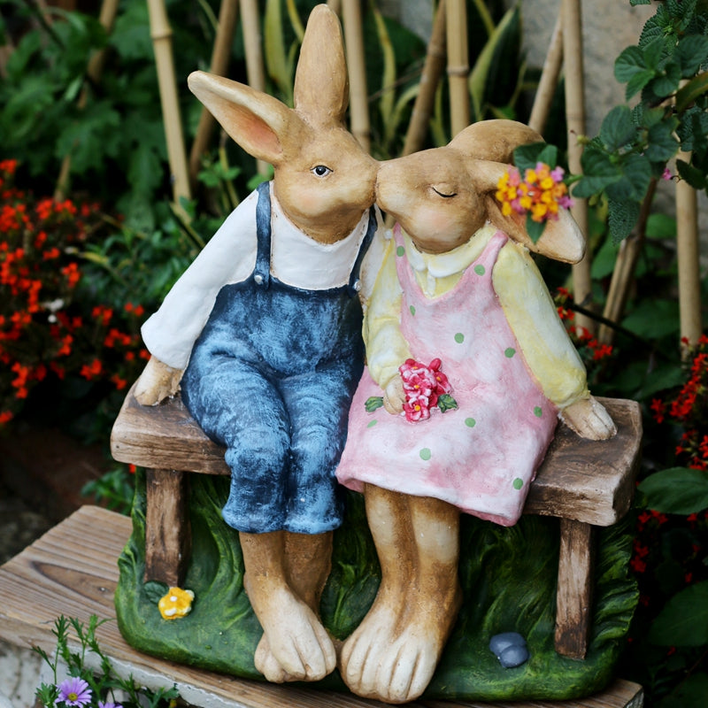 Bunny Lover Statue, Rabbit Lover Statue for Wedding Gift, Garden Courtyard Decoration