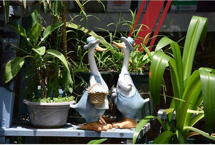 Duck Couple Statue for Garden, Animal Statue for Garden Courtyard Ornament, Villa Outdoor Decor Gardening Ideas