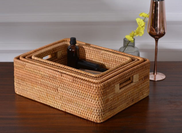 Large Handmade Rattan Storage Basket, Rectangular Basket with Handle, Storage Baskets for Kitchen and Bedroom