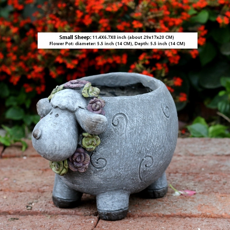 Lovely Sheep Statue, Sheep Flower Pot, Animal Statue for Garden Courtyard Decoration