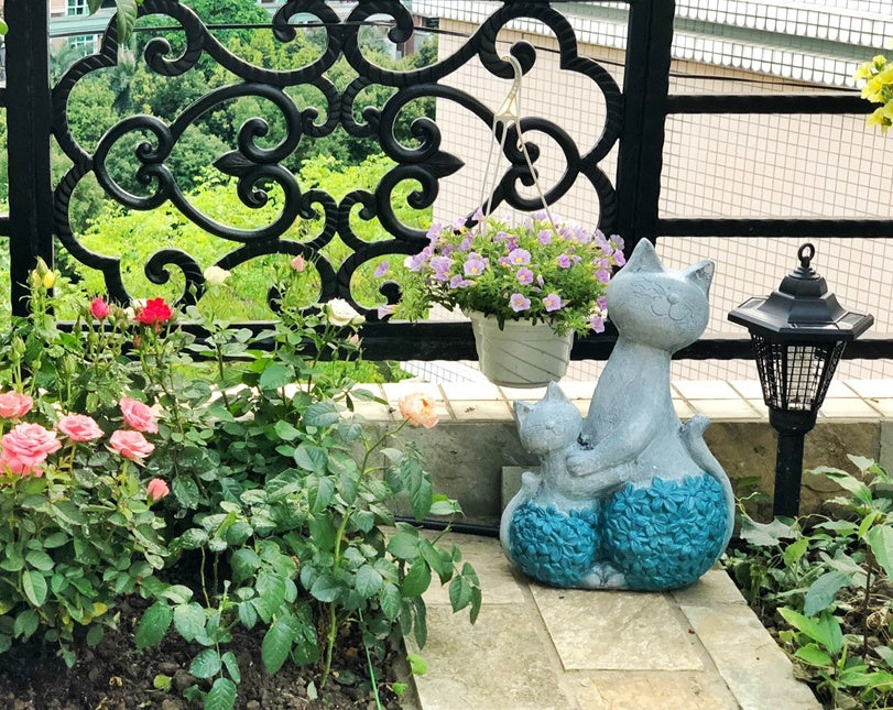 Mother and Baby Cats Statue for Garden, Animal Statue for Garden Ornaments