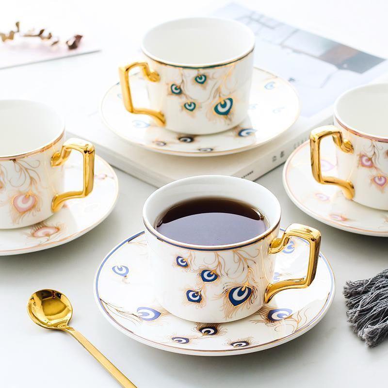 Peacock Tail Pattern Porcelain Coffee Cups, British Tea Cups, Coffee Cups with Gold Trim and Gift Box, Tea Cups and Saucers