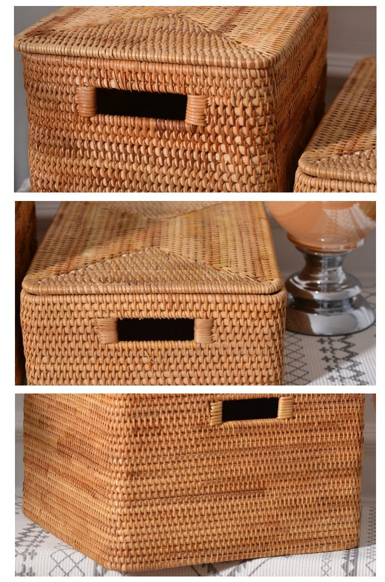 Handmade Rectangular Basket with Lip, Rattan Storage Basket, Storage Baskets for Kitchen and Bedroom, Rustic Baskets for Living Room