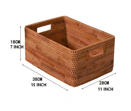 Rectangular Basket with Handle, Rattan Storage Basket, Storage Baskets for Kitchen and Dining Room