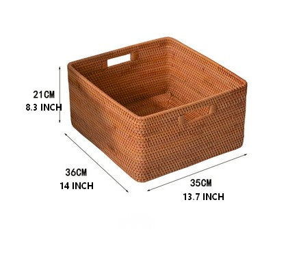 Rattan Storage Basket, Large Rectangular Basket with Handle, Storage Baskets for Kitchen and Bedroom