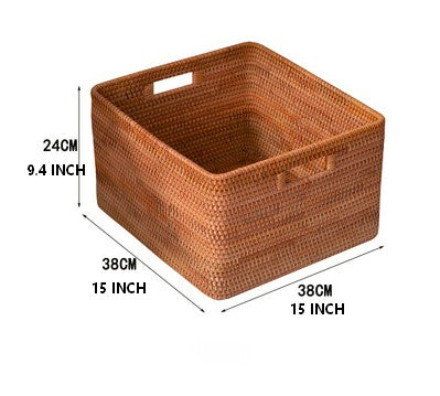 Extra Large Rectangular Basket with Handle, Rattan Storage Basket, Storage Baskets for Bathroom and Bedroom
