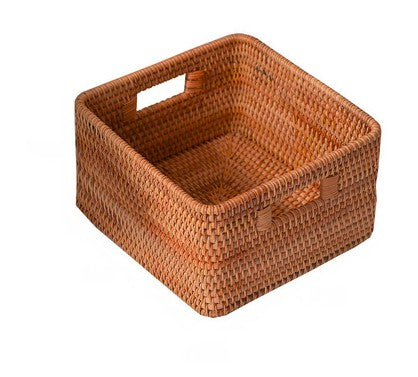 Rattan Storage Basket, Rectangular Basket with Handle, Storage Baskets for Bathroom and Bedroom