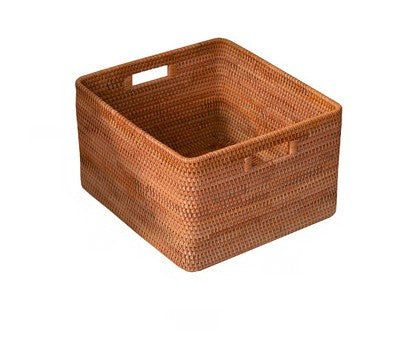 Extra Large Handmade Rattan Storage Basket, Large Rectangular Basket with Handle, Storage Baskets for Bedroom