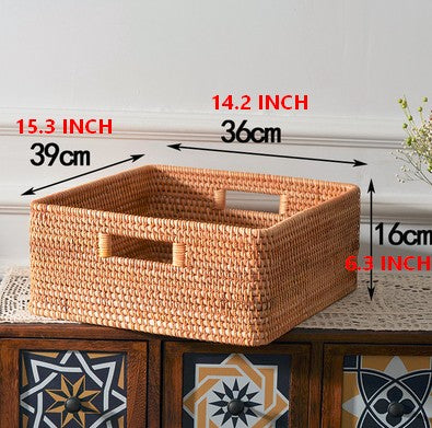 Rattan Storage Basket, Large Basket with Handle, Storage Baskets for Bedroom and Kitchen