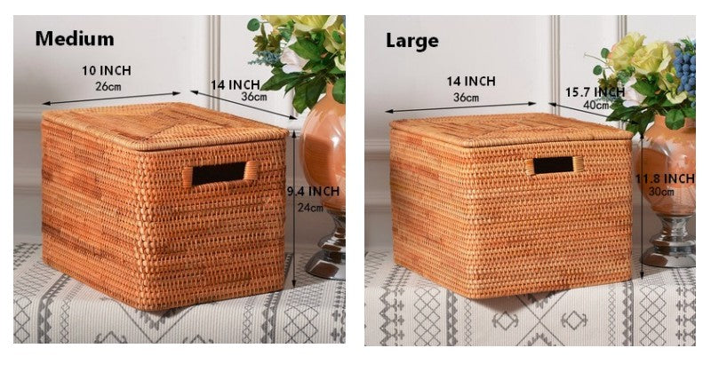 Large Handmade Rectangular Basket with Lip, Rattan Storage Basket, Storage Baskets for Bedroom, Rustic Baskets for Living Room