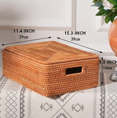 Small Handmade Rectangular Basket with Lip, Rattan Storage Basket, Storage Baskets for Kitchen and Bathroom, Rustic Baskets