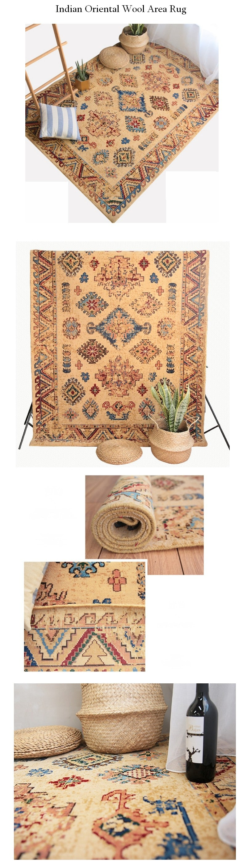 Indian Wool Woven Floor Carpet and Rugs, Bohemia Oriental Area Rug