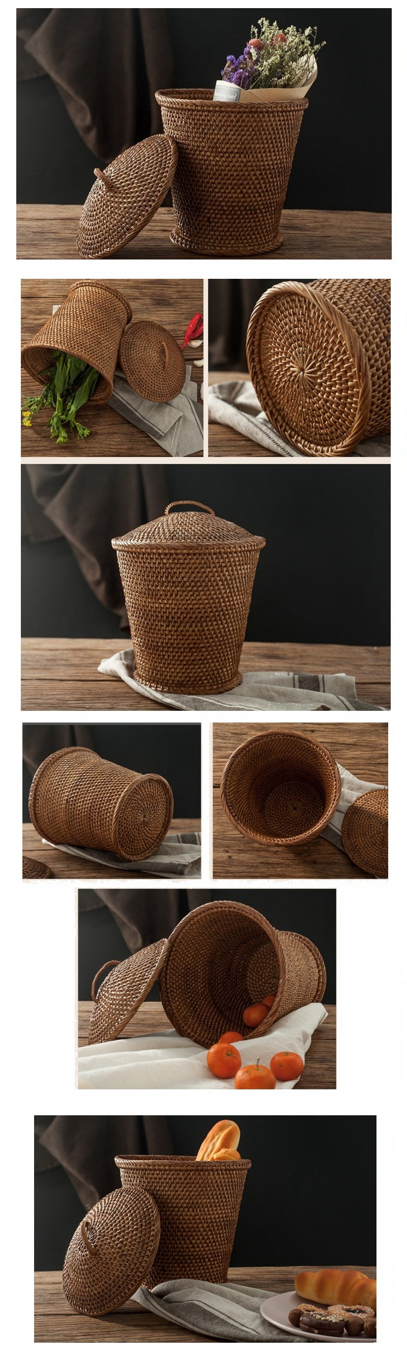 Indonesia Hand Woven Storage Basket with Cover