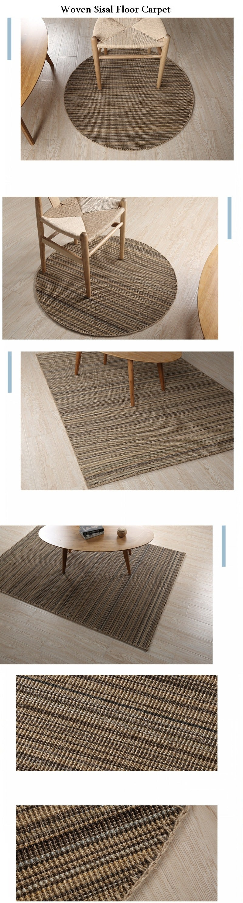 Casual Natural Fiber Natural Rustic Floor Carpet and Rugs, Sisal Rustic Woven Floor Carpet