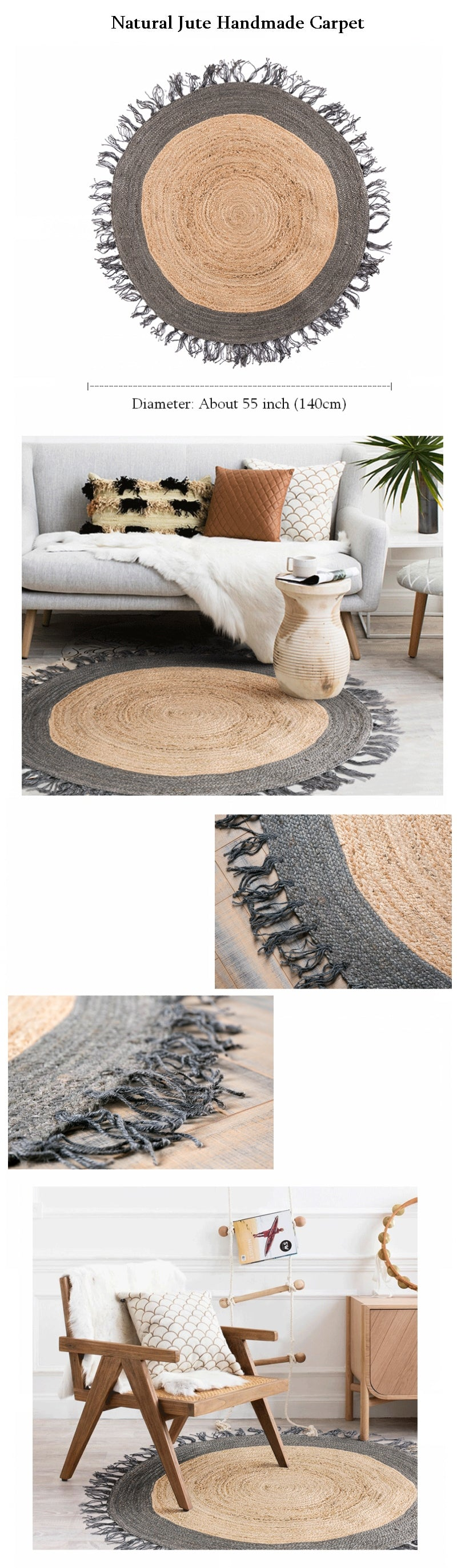 Copy of 100% Handmade Jute Carpet, India Oriental Floor Carpet, Round Area Rug