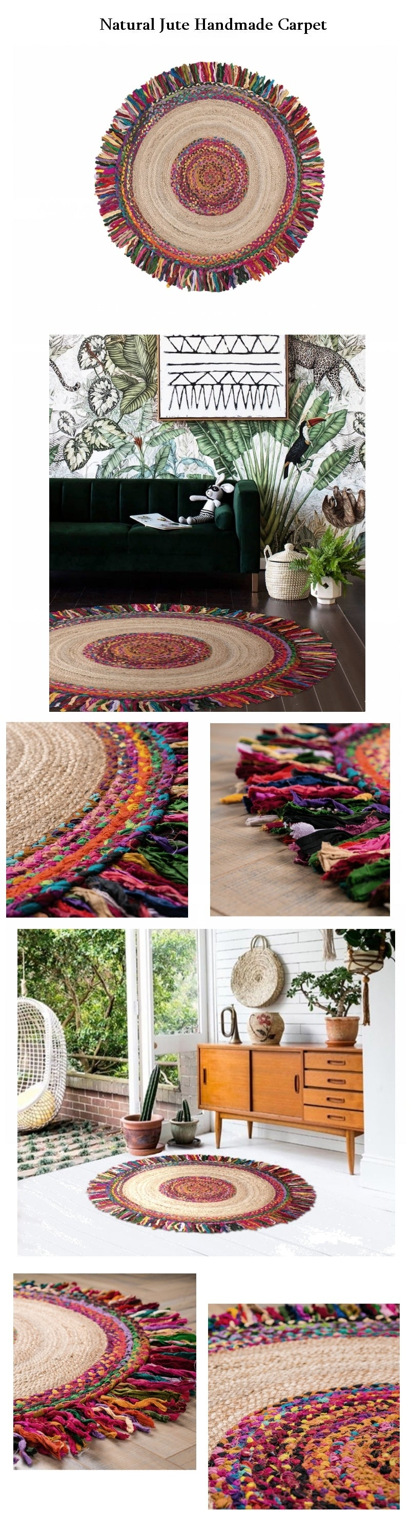 100% Handmade Jute Carpet, India Oriental Floor Carpet, Round Floor Carpet and Area Rug