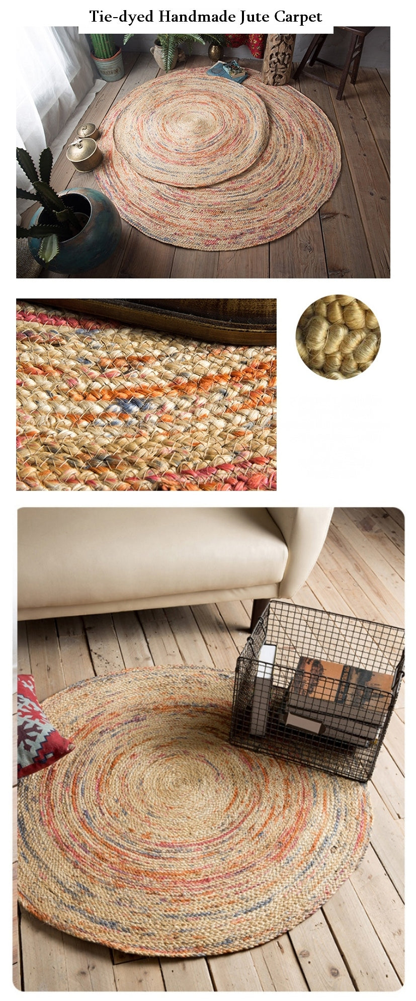 100% Handmade India Jute Floor Carpet, Round Floor Carpet and Rugs