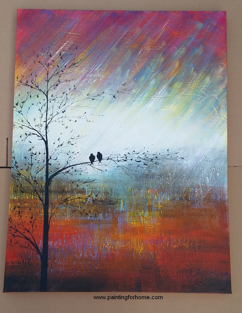 love birds painting, acrylic wall art for home decoration