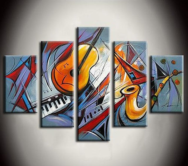 Music Violin Painting, Hand Painted Canvas Art, Acrylic Painting on Canvas, Multi Panel Wall Art Painting