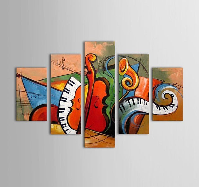 Hand Painted Modern Painting, Acrylic Painting on Canvas, Music Violin Painting, Oversize Wall Art Painting