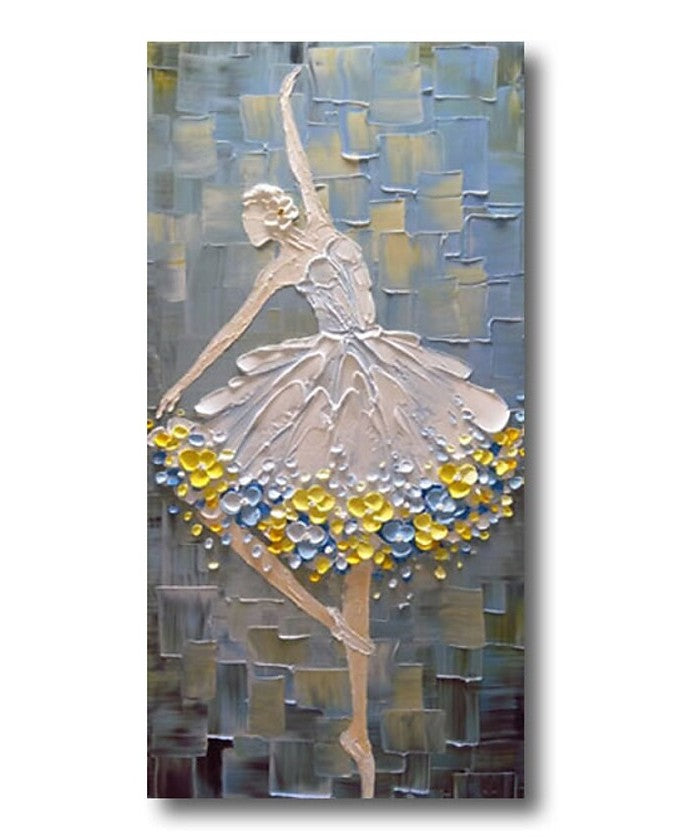 Ballet Dancer Painting, Heavy Texture Painting, Palette Knife Painting, Acrylic Painting for Bedroom, Painting on Canvas