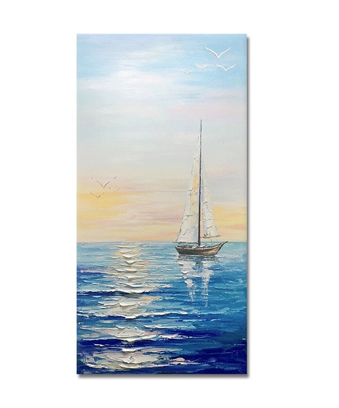 Sail Boat Seascape Painting, Heavy Texture Painting, Palette Knife Painting, Acrylic Painting on Canvas, Large Painting for Sale