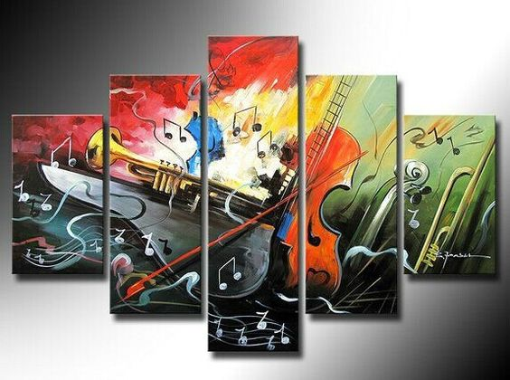 Acrylic Painting on Canvas, Canvas Painting for Living Room, Music Violin Painting, Large Painting for Sale