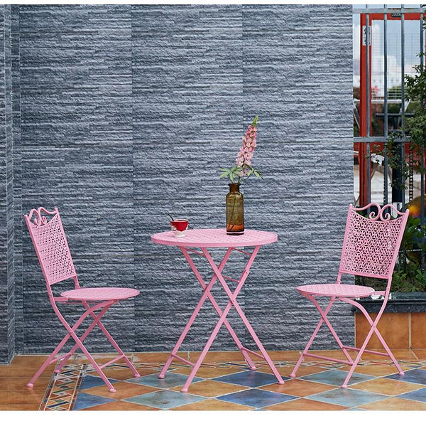 Garden Decoration Ideas, Pink Iron Foldable Chairs and Table for Garden, Balcony Table and Chairs-Paintingforhome