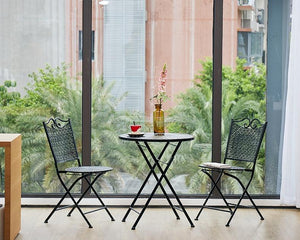 Garden Decoration Ideas, Black Iron Folding Chairs and Table for Garden and Patio, Balcony Table and Chairs-Paintingforhome
