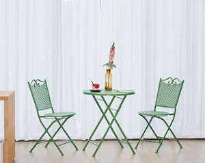 Garden Decoration Ideas, Green Iron Foldable Chairs and Table for Garden, Balcony Table and Chairs-Paintingforhome