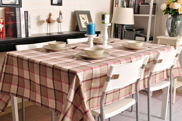 Khaki Checked Linen Tablecloth, Rustic Home Decor , Checkerboard Tablecloth, Table Cover-Paintingforhome