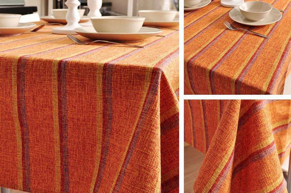 Orange Stripe Linen Tablecloth, Large Rectangle Table Cloth, Dining Kitchen Table Cover-Paintingforhome