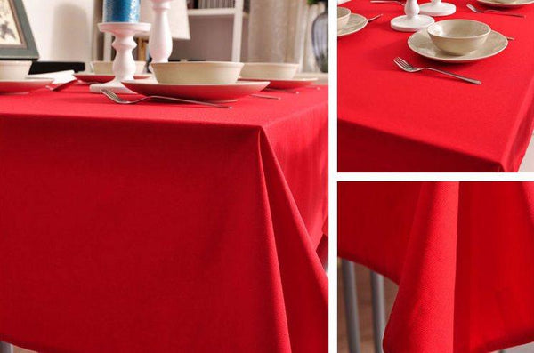 Red Tablecloth, Rustic Home Decor , Pure Cotton Tablecloth, Table Cover-Paintingforhome