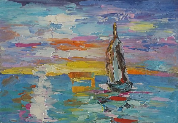 Small Heavy Texture Oil Painting, Art Painting, Canvas Painting, Sail Boat Painting-Paintingforhome