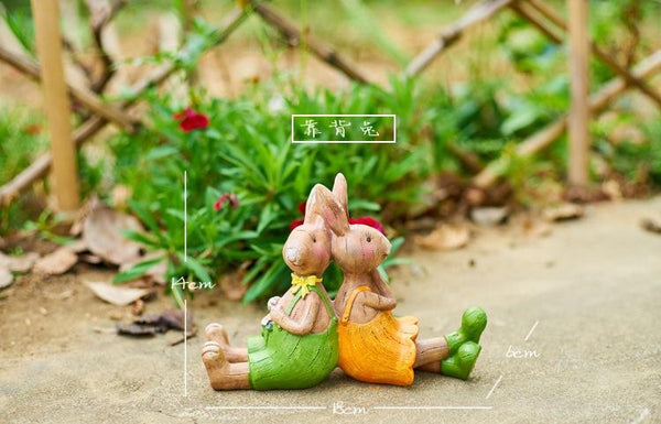 Deligent Rabbit Family Statue for Garden, Animal Statue for Garden Courtyard Ornament, Villa Outdoor Decor Gardening Ideas-Paintingforhome