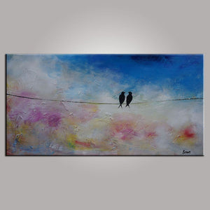 Modern Art, Love Birds Painting, Abstract Art, Contemporary Wall Art, Art for Sale, Abstract Art Painting, Living Room Wall Art, Canvas Art-Paintingforhome