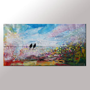 Love Birds Painting, Art for Sale, Abstract Wall Art, Modern Art, Contemporary Painting, Abstract Painting, Bedroom Wall Art, Canvas Art Painting-Paintingforhome