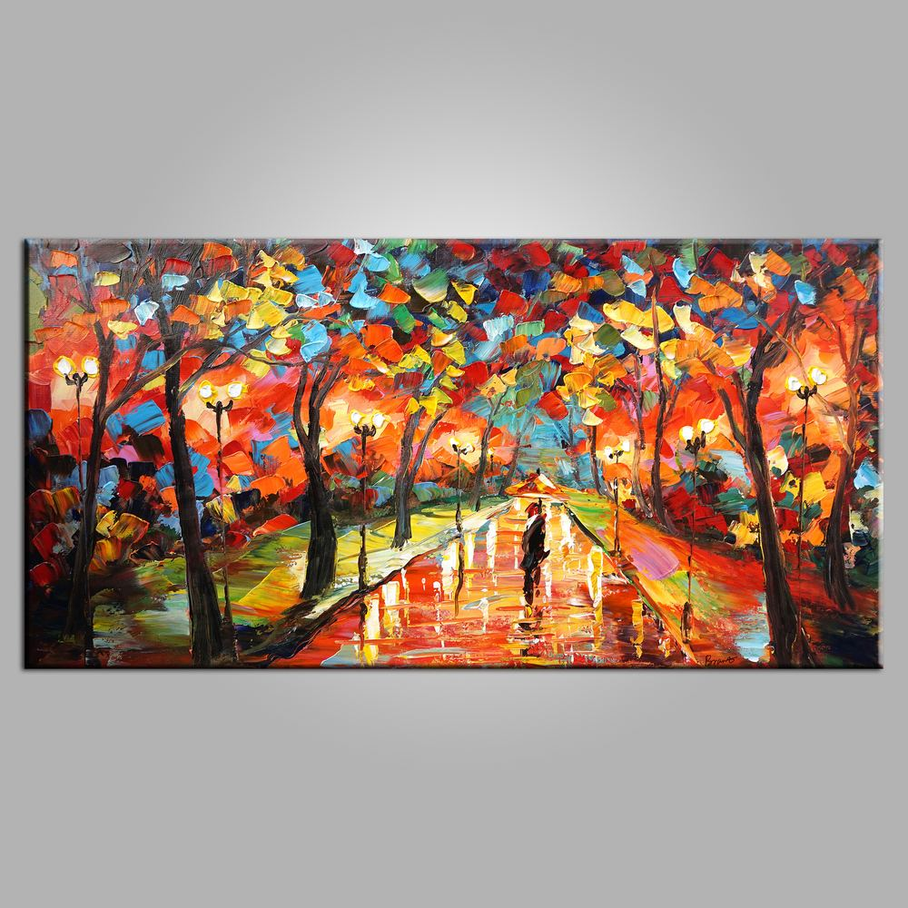 Forest park painting canvas art living room wall art modern art painting