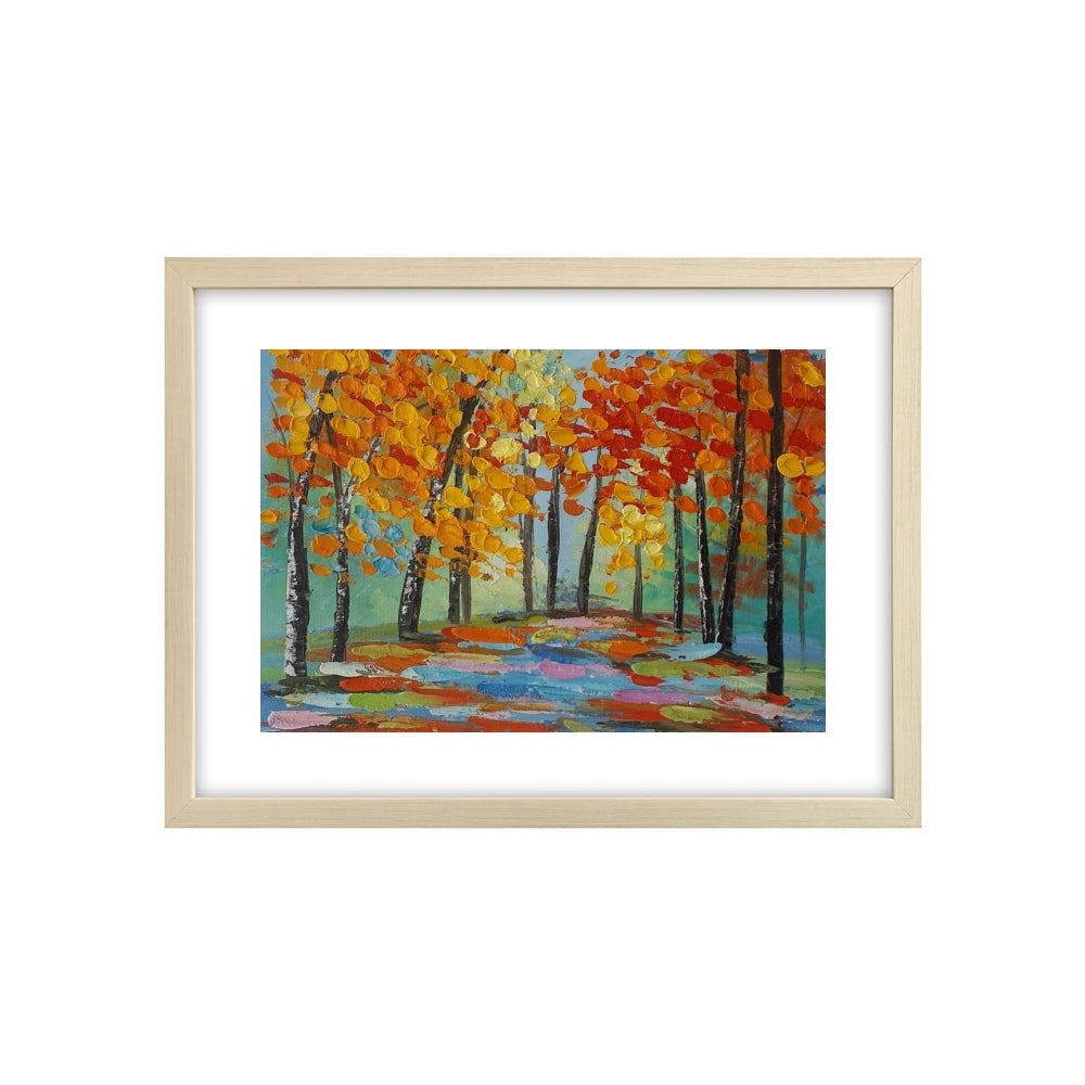 Small Painting, Autumn Tree Painting, Canvas Painting, Heavy Texture Oil Painting