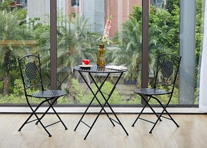 Black Iron Foldable Chairs and Table for Garden, Villa Courtyard Garden Table and Chairs, Garden Ideas-Paintingforhome