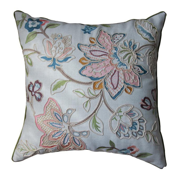 Embroider Flower Cotton and linen Pillow Cover, Decorative Throw Pillow, Sofa Pillows, Zig Zag Pillow-Paintingforhome