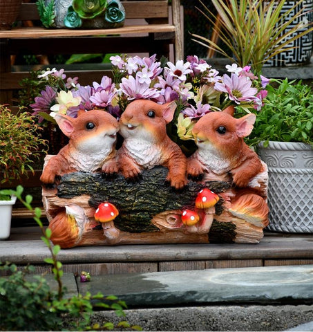 3 Lovely Squirrel Flower Pot, Squirrel Statue for Garden, Animal Statue for Garden Ornament, Villa Outdoor Decor Gardening Ideas-Paintingforhome