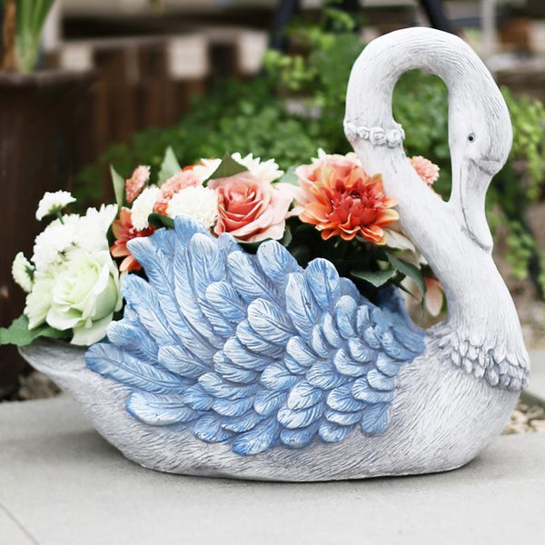 Blue Wing Swan Flower Pot, Small Animal Statue for Garden Ornament, Swan Lovers Statues, Villa Courtyard Decor, Outdoor Decoration Ideas, Garden Ideas-Paintingforhome
