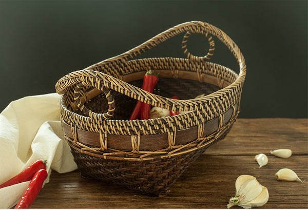 Indonesia Hand Woven Storage Basket, Natural Bamboo Baskets, Small Rustic Basket-Paintingforhome